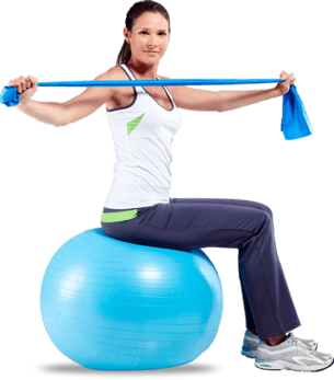 pilates ball and elastic band